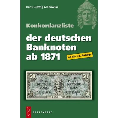Hans-Ludwig Grabowski: Konkordanzliste der deutschen Banknoten ab 1871